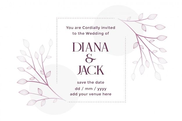 Cartão de casamento branco com decoração floral
