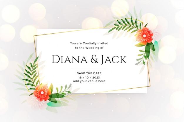 Cartão de casamento branco lindo com efeito bokeh