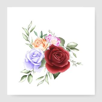 Cartão de casamento buquê em aquarela