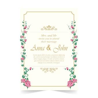 Cartão de casamento, cartão de convite com rosa vermelha