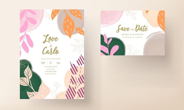 Cartão de casamento colorido com ornamento floral liso