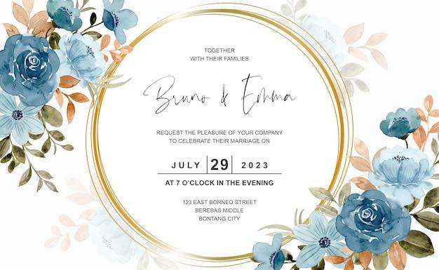 Cartão de casamento com aquarela de flor azul