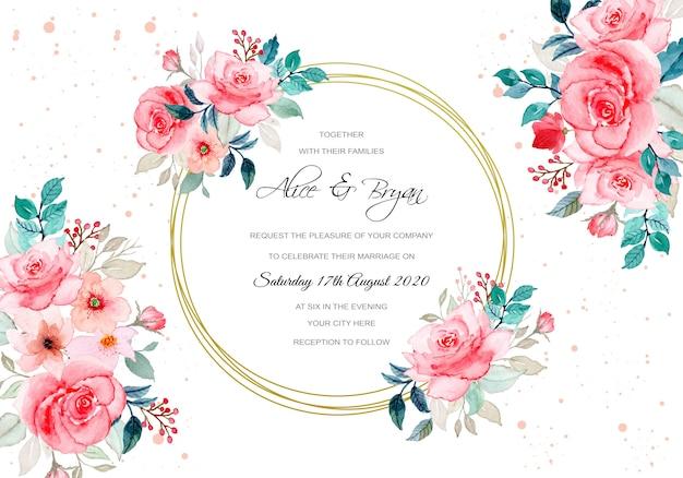 Cartão de casamento com aquarela flor rosa