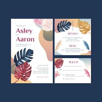 Cartão de casamento com aquarela floral pampa