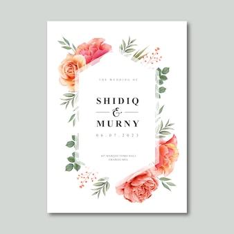 Cartão de casamento com aquarela moldura floral