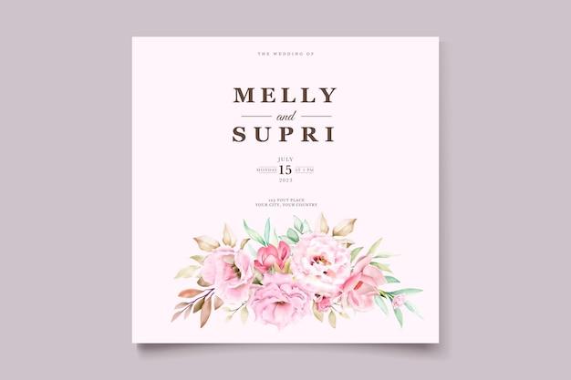 Cartão de casamento com bela aquarela floral