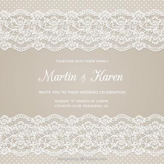 Cartão de casamento com bordados