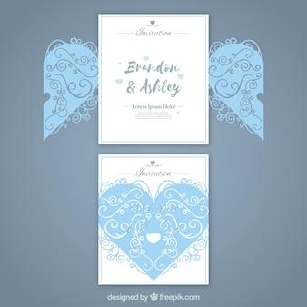 Cartão de casamento com coração com corte a laser