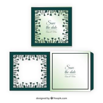 Cartão de casamento com corte floral a laser