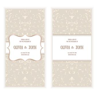 Cartão de casamento com damasco padrão