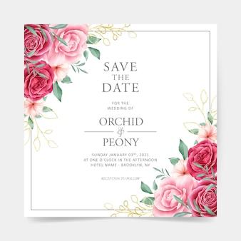 Cartão de casamento com decoração floral em aquarela e folhas delineadas douradas