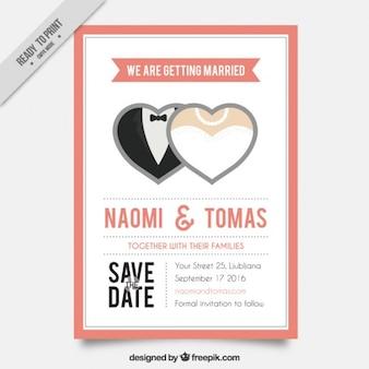 Cartão de casamento com dois corações