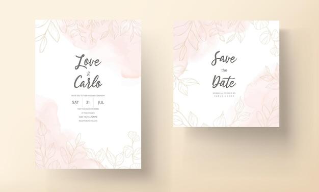 Cartão de casamento com enfeite de folha de ouro