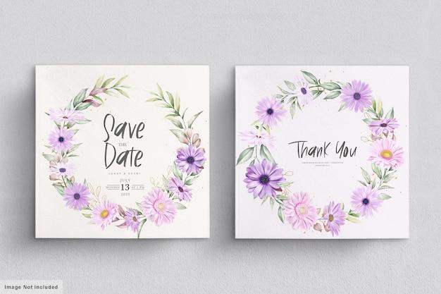 Cartão de casamento com flor de crisântemo macio