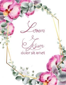 Cartão de casamento com flores da orquídea