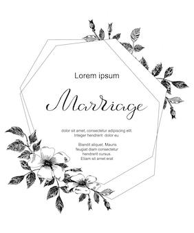 Cartão de casamento com flores de esboço