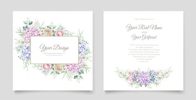 Cartão de casamento com flores em aquarela hortênsia