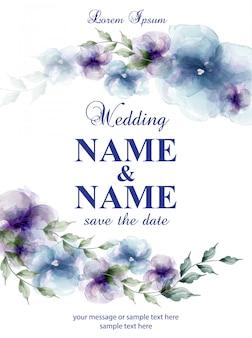 Cartão de casamento com flores em aquarela