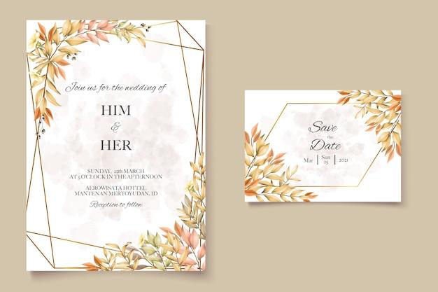 Cartão de casamento com folhas de outono