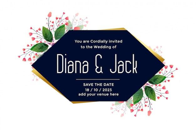 Cartão de casamento com folhas e decoração de flores