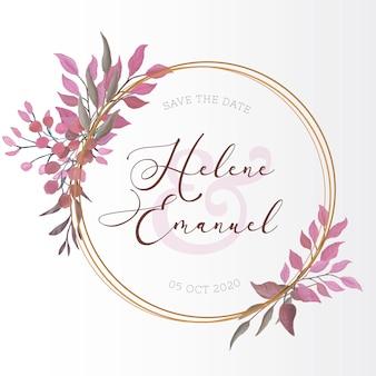 Cartão de casamento com folhas em aquarela
