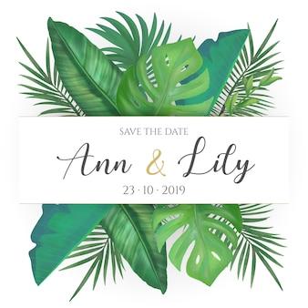 Cartão de casamento com folhas tropicais
