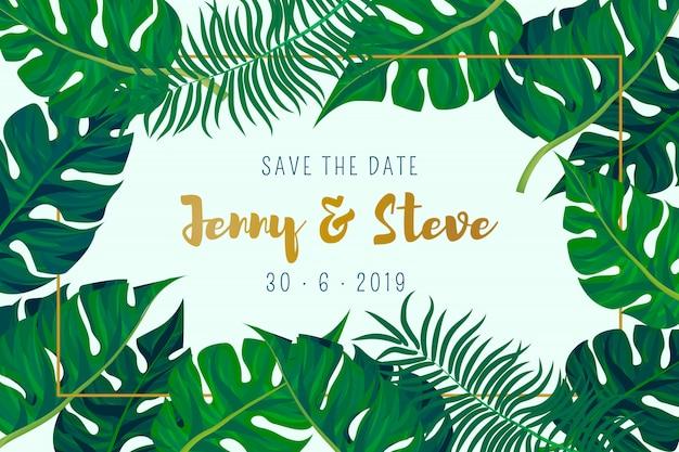 Cartão de casamento com fundo de folhas de palmeira