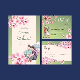 Cartão de casamento com ilustração em aquarela de design de conceito de flor de cerejeira