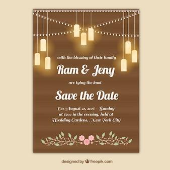 Cartão de casamento com lâmpadas
