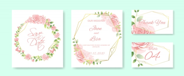 Cartão de casamento com linda flor