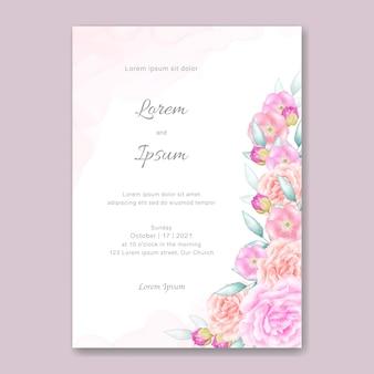 Cartão de casamento com lindas flores em aquarela