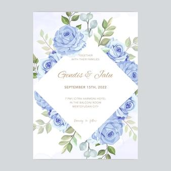 Cartão de casamento com lindo modelo aquarela floral