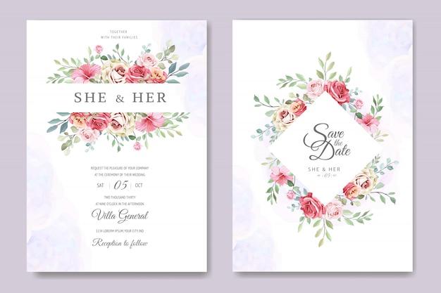 Cartão de casamento com lindo modelo floral