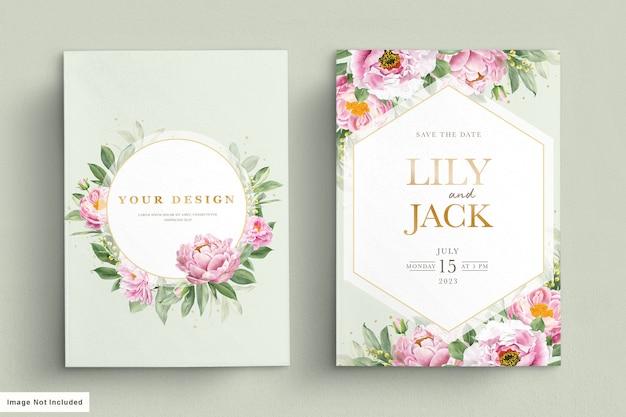Cartão de casamento com lindos florais e folhas