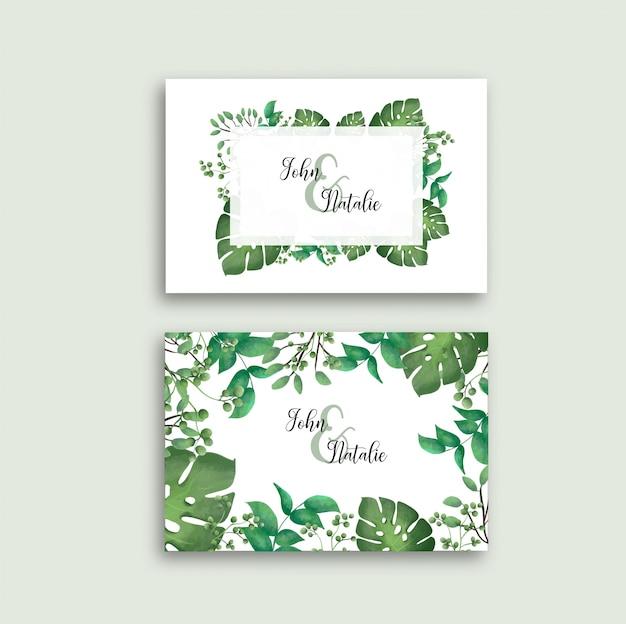 Cartão de casamento com modelo de folhas tropicais