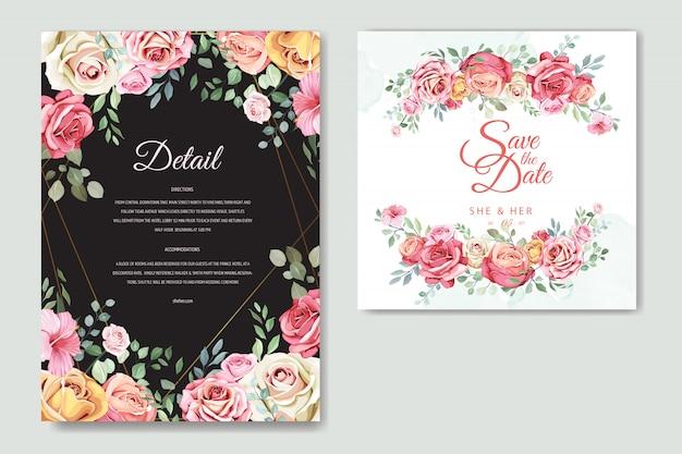 Cartão de casamento com modelo floral e folhas elegante