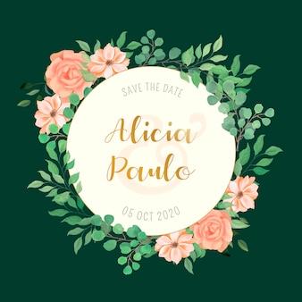 Cartão de casamento com moldura de flores em aquarela