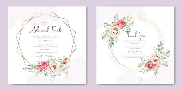 Cartão de casamento com ornamento flores e folhas