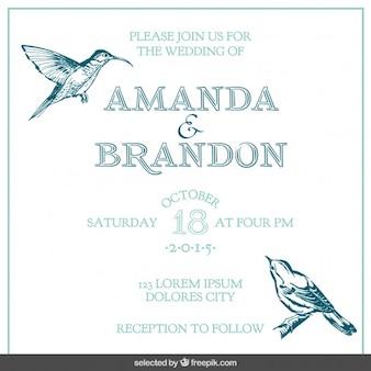 Cartão de casamento com pássaros tirados mão