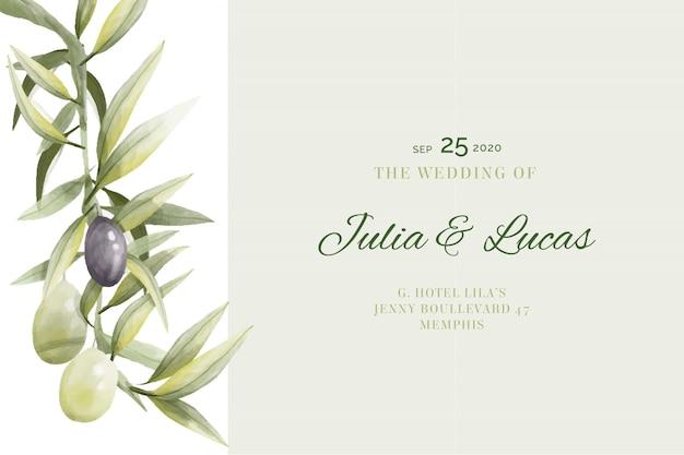 Cartão de casamento com ramo de oliveira - vintage