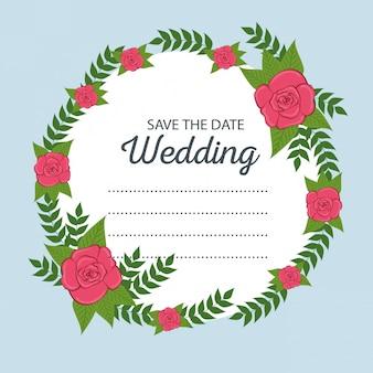 Cartão de casamento com ramos de folhas e rosas