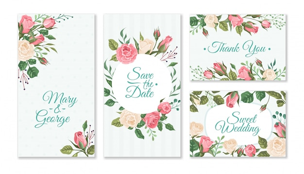 Cartão de casamento com rosas. cartões de convite floral de casamentos com rosas vermelhas e cor de rosa e folhas verdes. modelo de panfletos de festa