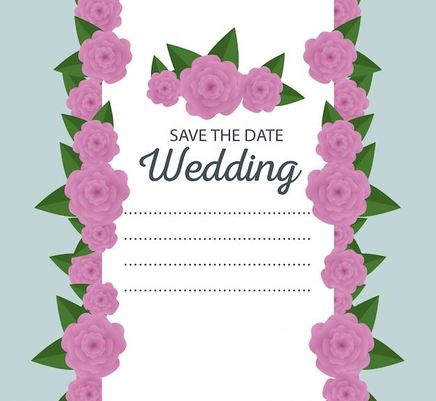 Cartão de casamento com rosas e ramos de folhas