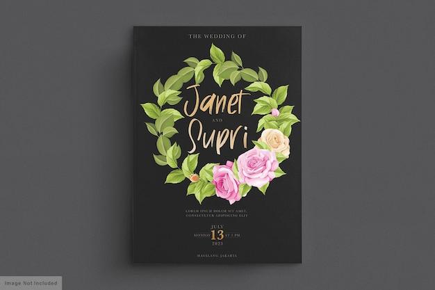 Cartão de casamento com rosas suaves
