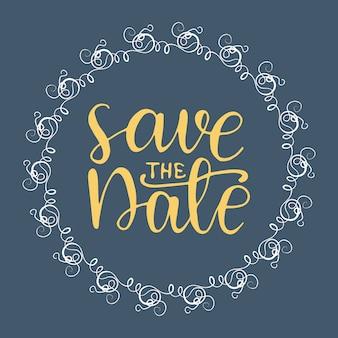 Cartão de casamento com rotulação salvar a data.