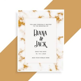Cartão de casamento com textura de mármore dourado