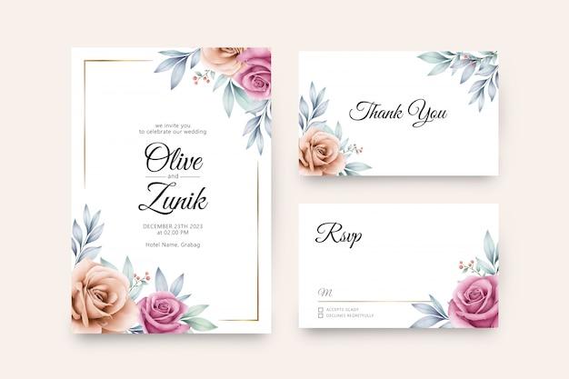 Cartão de casamento conjunto modelo com aquarela floral colorida