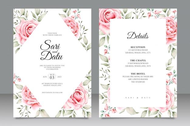 Cartão de casamento conjunto modelo com aquarela floral