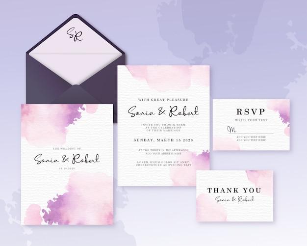 Cartão de casamento conjunto modelo com aquarela linda splash roxo
