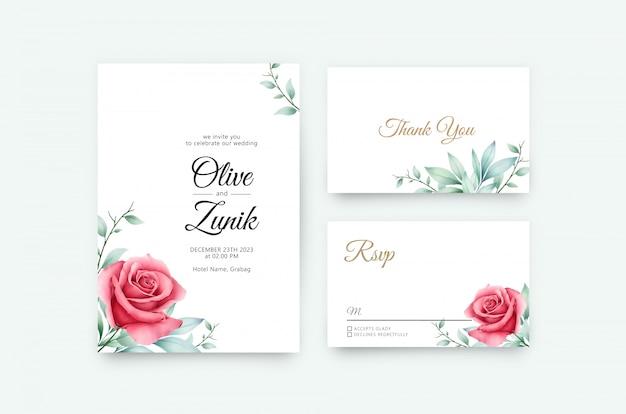 Cartão de casamento conjunto modelo com design aquarela floral minimalista